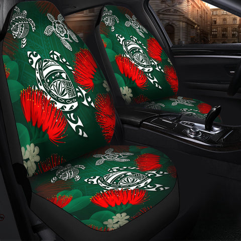 Image of Hawaii Lehua Flowers Turtle Poly Car Seat Covers - Ser Style - AH J8