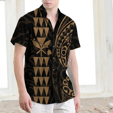 Kanaka Map Men's Short Sleeve Shirt Gold - AH J4 - Alohawaii