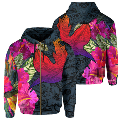 Hawaii Polynesian Hibiscus Shark Zip Hoodie - AH - Rock Style - J5 - Alohawaii