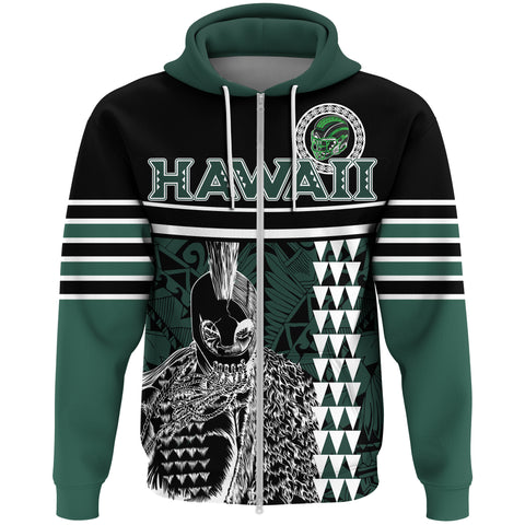Personalised - Hawaii Kakau Polynesian Warrior Football Zip Hoodie - AH - Rainbow Style - J5 - Alohawaii