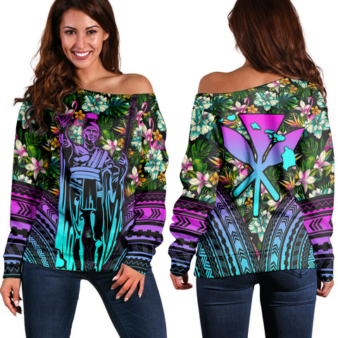 Hawaii King Polynesian Tropical Women's Off Shoulder Sweater - Hors Style - AH - J4