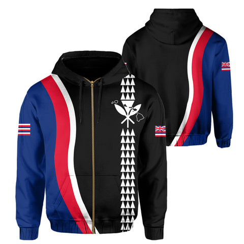 Image of Hawaii Kakau Flag Hoodie (Zip-up) - AH - J4 - Alohawaii