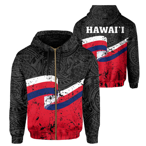 Hawaii Flag Polynesian Hoodie (Zip-up) - AH - J4 - Alohawaii