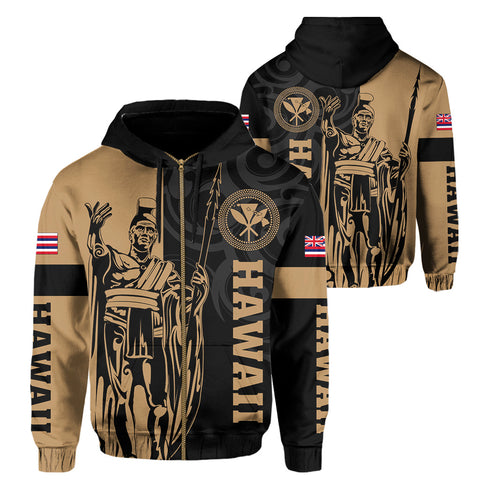 Hawaii King Polynesian Hoodie (Zip-up) - Lawla Style - AH - J4 - Alohawaii