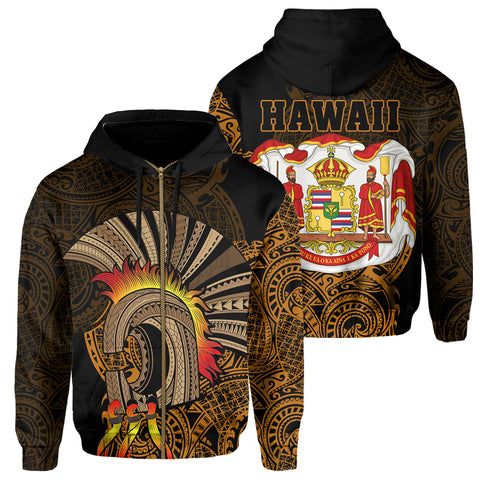 Hawaii Polynesian Warrior Mask Royal Coat Arms Zipper Hoodie