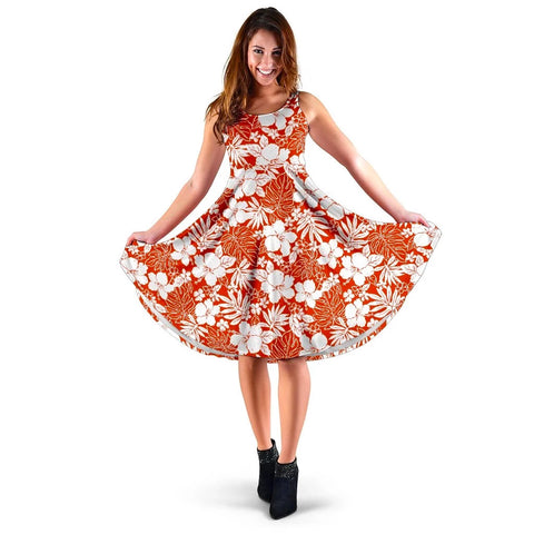 Hawaii Hibiscus Flower Pattern Midi Dress   - AH - J71 - Alohawaii