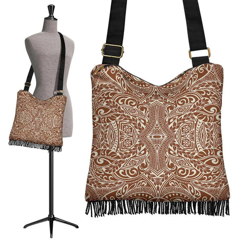 Polynesian Tribal Crossbody Boho Handbag Grow And White - AH - J7