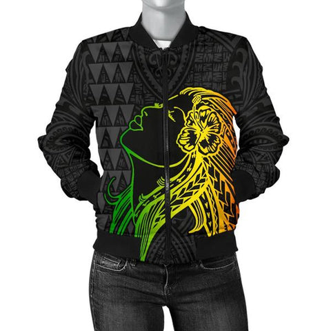 Hula Girl And Turtle Hibiscus Women's Bomber Jacket - AH J4 - Alohawaii