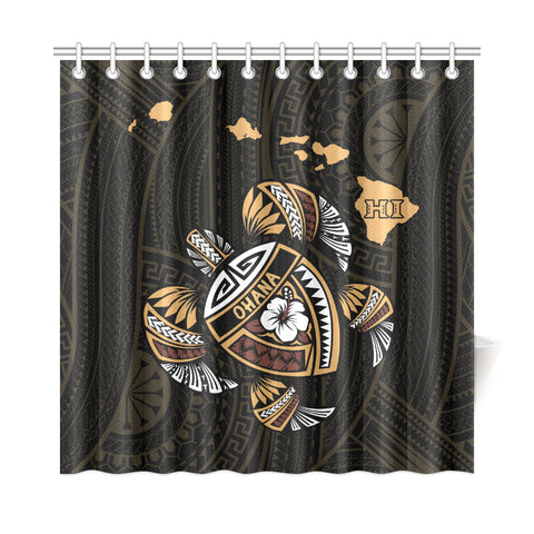 Hawaii Kakau Polynesian Turtle Map Shower Curtain - AH - J6 - Alohawaii