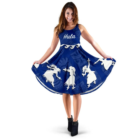 Hawaiian Hula Girls Dance in Blue Midi Dress - AH J5