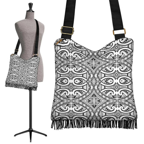 Polynesian Tribal Crossbody Boho Handbag Black Pattern - AH - J7
