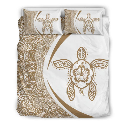 Hawaii Polynesian Turtle Bedding Set-Circle Style Gold And White - AH - J7