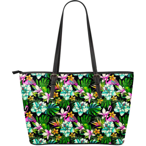 Hawaii Animals And Tropical Flowers Large Leather Tote - AH - J71 - Alohawaii