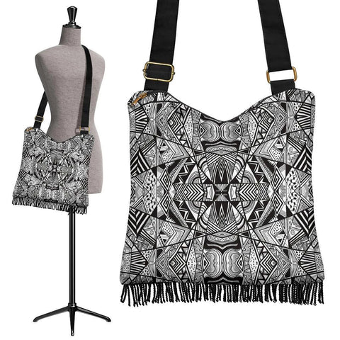 Polynesian Tribal Crossbody Boho Handbag White And Black  - AH - J7