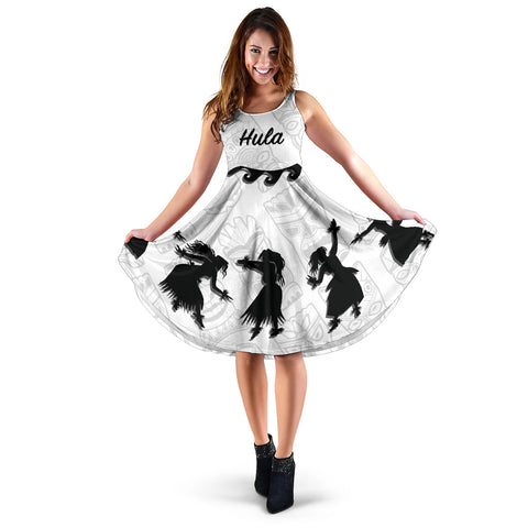 Hawaiian Hula Girls Dance in White Midi Dress - AH J5