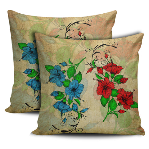 Hibiscus Blue And Red Pillow Covers - AH - J1 - Alohawaii
