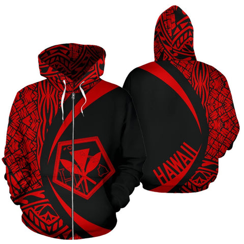 Image of Kanaka Polynesian Tribal Zip-up Hoodie - Circle Style Red Color - AH J1 - Alohawaii