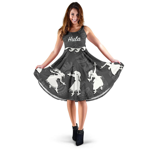 Hawaiian Hula Girls Dance in Gray Midi Dress - AH J5