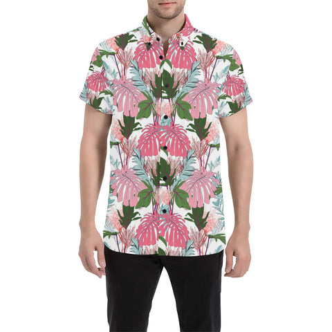 Pink Monstera And Green Tropical Leaves White Shirt - AH - J7 - Alohawaii