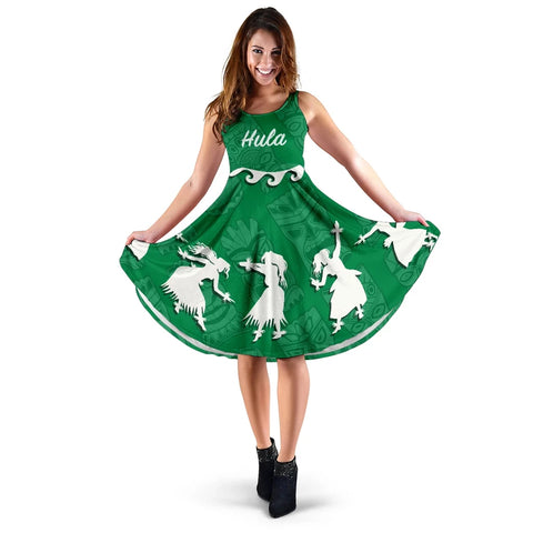 Hawaiian Hula Girls Dance in Green Midi Dress - AH J5