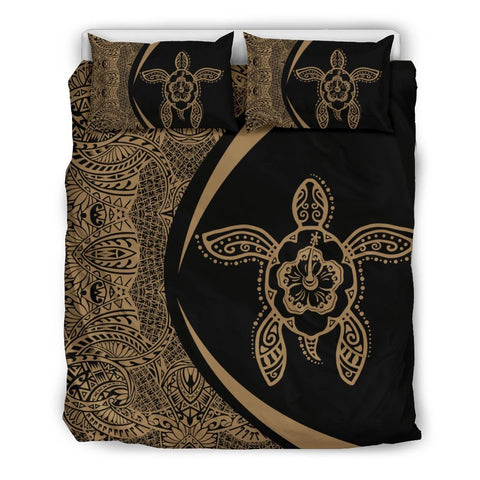 Image of Hawaiian Hibiscus Turtle Polynesian Bedding Set-Circle Style Gold And Black - AH - J7 - Alohawaii