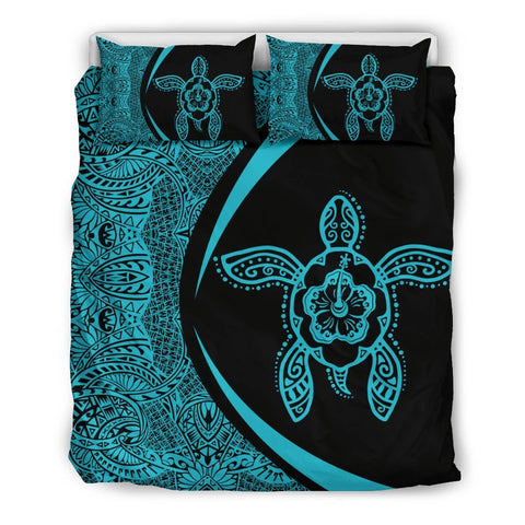 Hawaii Polynesian Turtle Bedding Set-Circle Style Blue - AH - J7