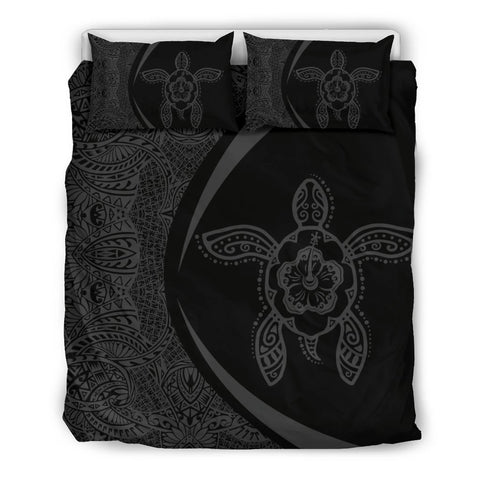 Image of Hawaiian Hibiscus Turtle Polynesian Bedding Set-Circle Style Grey - AH - J7 - Alohawaii