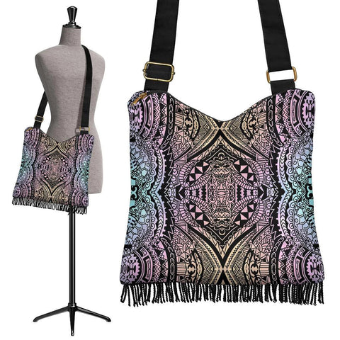 Image of Polynesian Tribal Crossbody Boho Handbag Blur - AH - J7