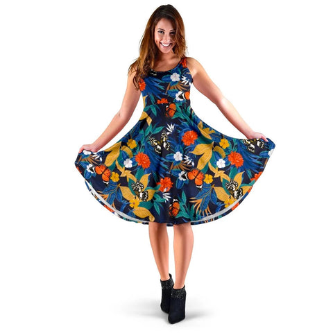 Hawaii Tropical Buttterfly And Flower Midi Dress   - AH - J71