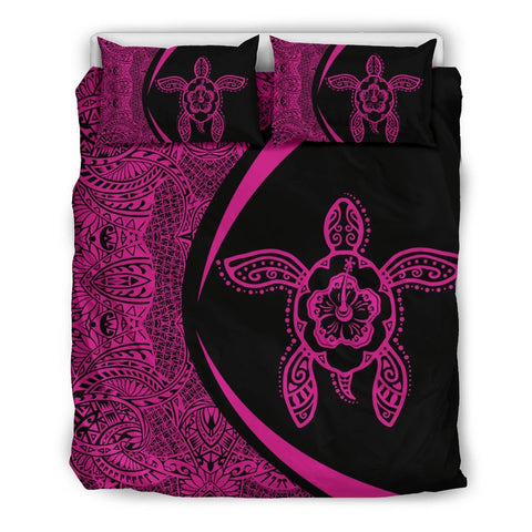Image of Hawaiian Hibiscus Turtle Polynesian Bedding Set-Circle Style Pink - AH - J7 - Alohawaii