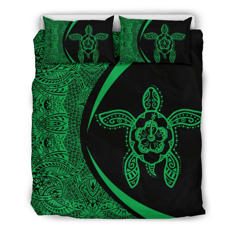 Image of Hawaiian Hibiscus Turtle Polynesian  Bedding Set-Circle Style Green - AH - J7 - Alohawaii