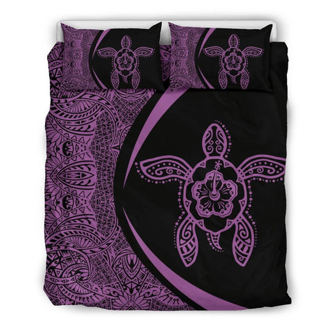 Image of Hawaiian Hibiscus Turtle Polynesian  Bedding Set-Circle Style Purple - AH - J7 - Alohawaii