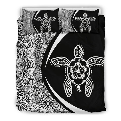 Image of Hawaiian Hibiscus Turtle Polynesian  Bedding Set- Circle Style White -AH - J7 - Alohawaii