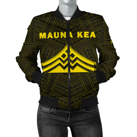 Image of Hawaii Mauna Kea Polynesian Women's Bomber Jacket Yellow  - AH - J71 - Alohawaii