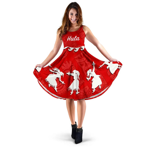 Hawaiian Hula Girls Dance in Red Midi Dress - AH J5