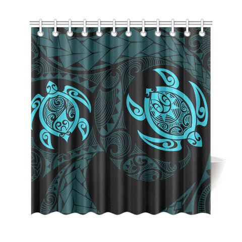 Hawaii Polynesian Turtle Shower Curtain Blue - AH - J7 - Alohawaii