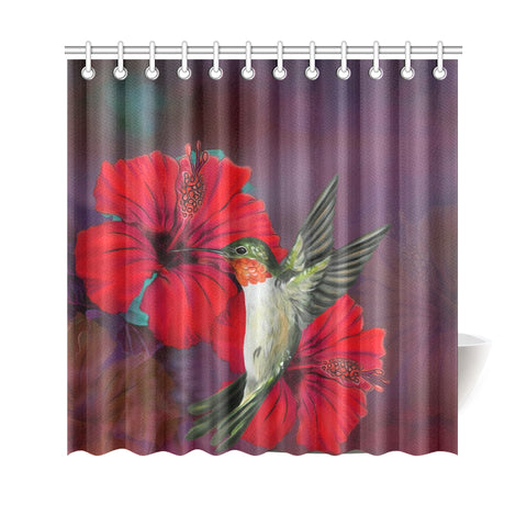 Hibiscus Hummingbird Shower Curtain - AH J9 - Alohawaii