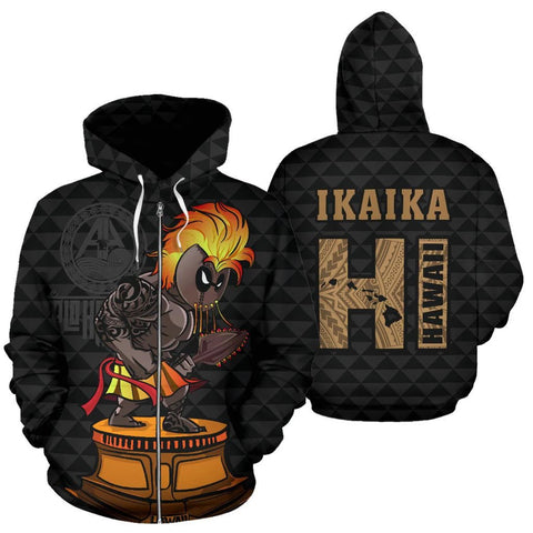 Image of Hawaii Kakau Fighter Kanaka Warrior Hoodie (Zip) - AH - J1 - Alohawaii