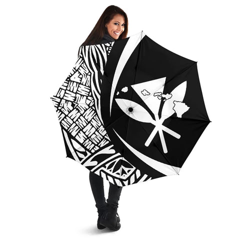 Kanaka Hawaii Map Umbrella White - Circle Style - AH J4 - Alohawaii