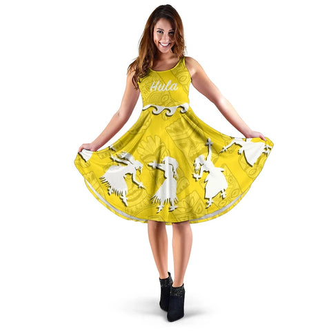 Hawaiian Hula Girls Dance in Yellow Midi Dress - AH J5