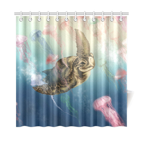 Hawaii Turtle And Jellyfish In Deep Sea Moana Shower Curtain - AH - J5 - Alohawaii