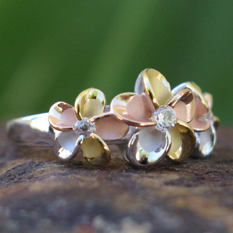 Image of Hawaii Silver Tri-color Gold Plumeria Flower CZ Wedding Ring - AH - J7 - Alohawaii