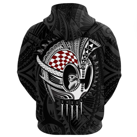 Hawaii Polynesian Warrior Mask Zip Hoodie - AH - Toon Style - J5 - Alohawaii