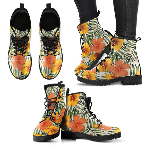 Hawaii Yellow Hibiscus Leather Boots - AH J2