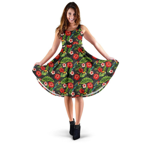Hawaii Tropical Flamingo Hibiscus Midi Dress   - AH - J71