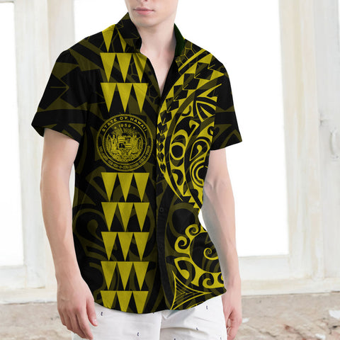Image of Hawaii Coat Of Arms Short Sleeve Shirt Yellow - AH J4 - Alohawaii