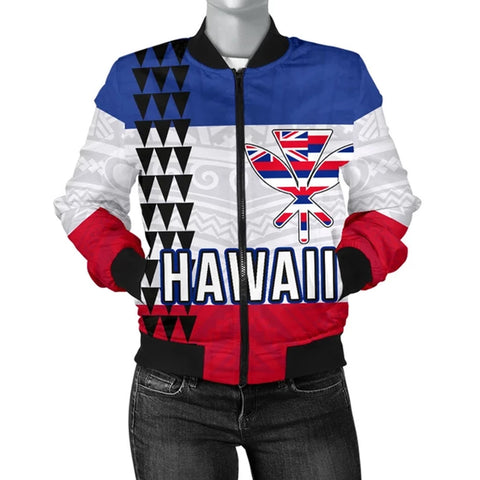 Hawaii Flag Polynesian Women's Bomber Jacket - AH J4 - Alohawaii