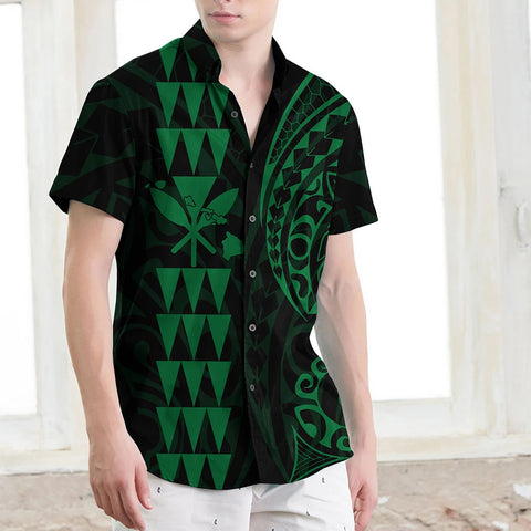 Kanaka Map Men's Short Sleeve Shirt Green - AH J4 - Alohawaii