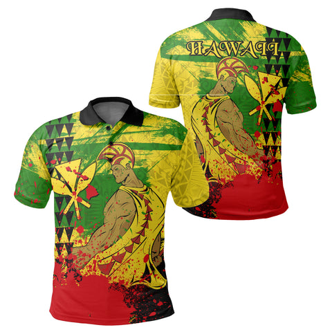 Image of Hawaii Reggae Kanaka Maoli Warrior Spearhead Polo Shirt