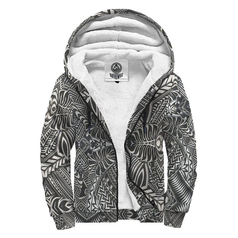 Image of Black and White Palm Polynesian Sherpa Hoodie - AH J4 - Alohawaii